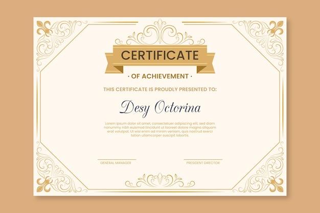Tema elegante para plantilla de certificado