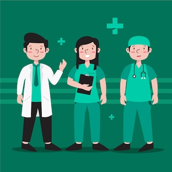 Tema del equipo de profesionales de la salud