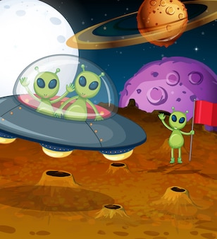 Tema espacial con alienígenas en ovni
