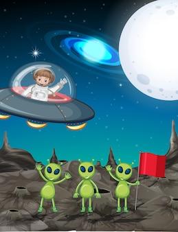 Tema espacial con astronauta y tres alienígenas