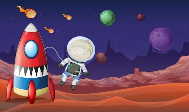 Tema espacial con astronauta volando fuera de la nave espacial