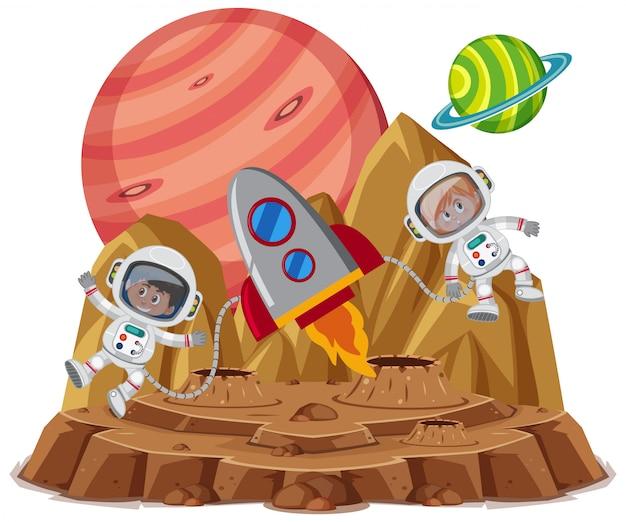 Tema espacial con astronautas y nave espacial aislado sobre fondo blanco.