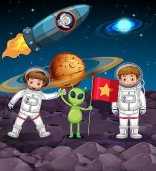 Tema espacial con dos astronautas y alienígena con bandera
