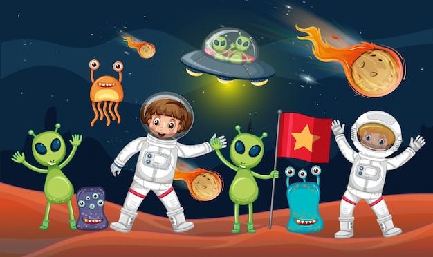 Tema espacial con dos astronautas y muchos alienígenas