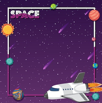 Tema del espacio con cohete y sistema solar