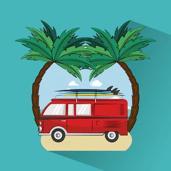 Tema de estilo de vida surf tropical