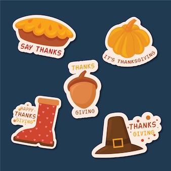 Tema de etiquetas del día de acción de gracias