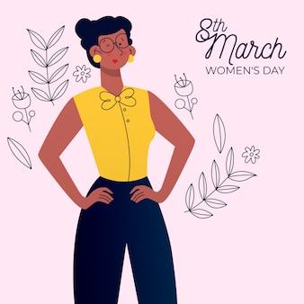Tema de evento de día para mujer de diseño plano