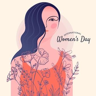 Tema del evento del día de las mujeres con flores