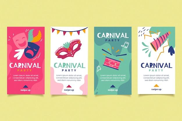 Tema de fiesta de carnaval para la colección de historias de instagram