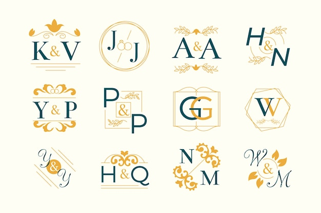 Tema floral de la colección del monograma de la boda