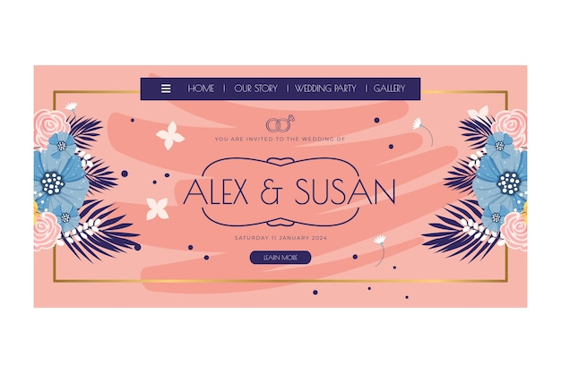 Tema floral de la página de destino de la boda