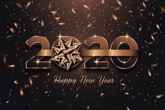 Tema de fondo de año nuevo con lazo de regalo
