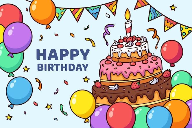 Tema de fondo de cumpleaños dibujado a mano