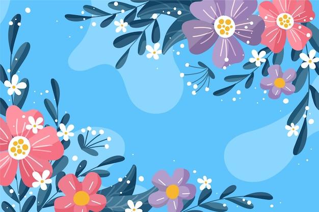Tema de fondo floral abstracto de diseño plano