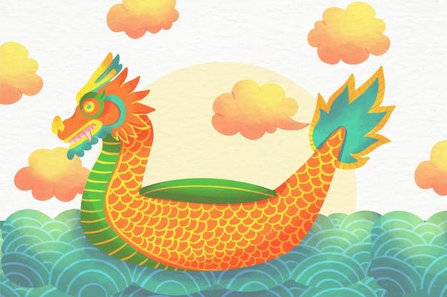 Tema de fondo de pantalla de acuarela dragon boat