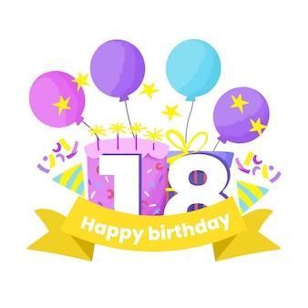 Tema de fondo de pantalla de feliz cumpleaños número 18
