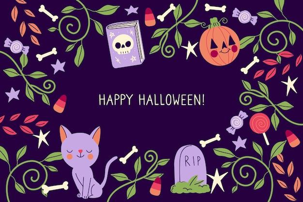 Tema de fondo de pantalla de halloween dibujado a mano