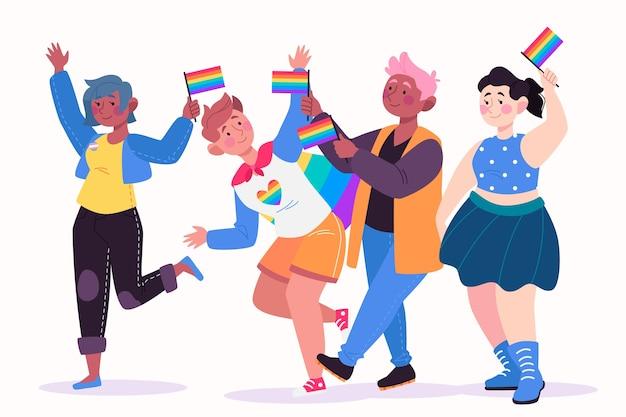 Tema de la gente del día del orgullo de ilustración