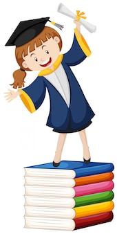 Tema de graduación con niña y libros.
