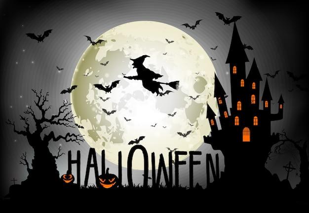 Tema de halloween bruja voladora