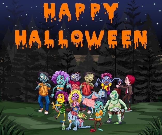 Tema de halloween con zombies en el parque