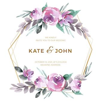 Tema hermoso del marco floral de la boda