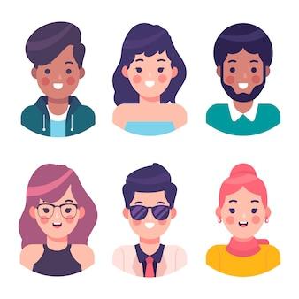 Tema de ilustración de avatares de personas