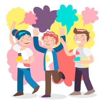 Tema de ilustración con la celebración del festival holi de personas