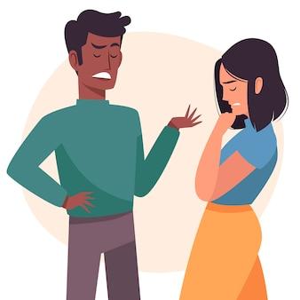 Tema de ilustración de conflictos de pareja