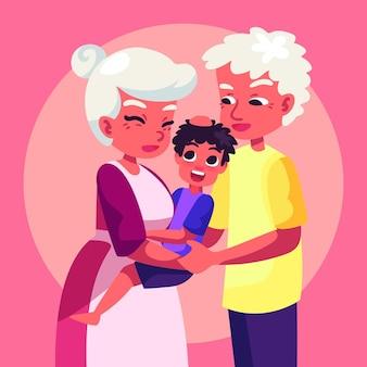 Tema de ilustración del dia dos avós