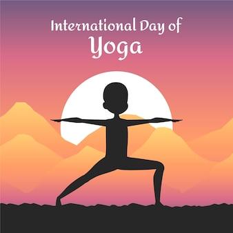 Tema de ilustración del día internacional del yoga