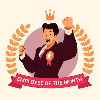 Tema de ilustración del empleado del mes