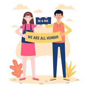 Tema de ilustración de movimiento neutral al género