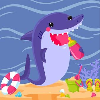 Tema de ilustración de tiburón bebé de diseño plano