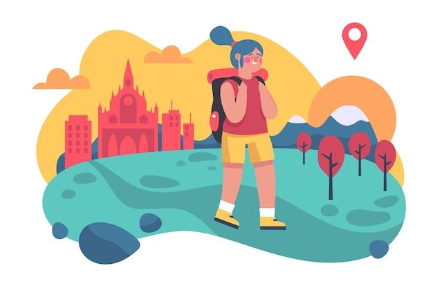 Tema de ilustración de turismo local