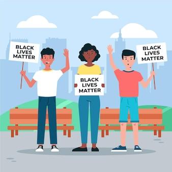 Tema de ilustración de vidas negras importadas