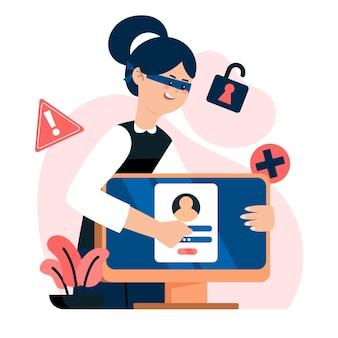 Tema ilustrado de la actividad hacker
