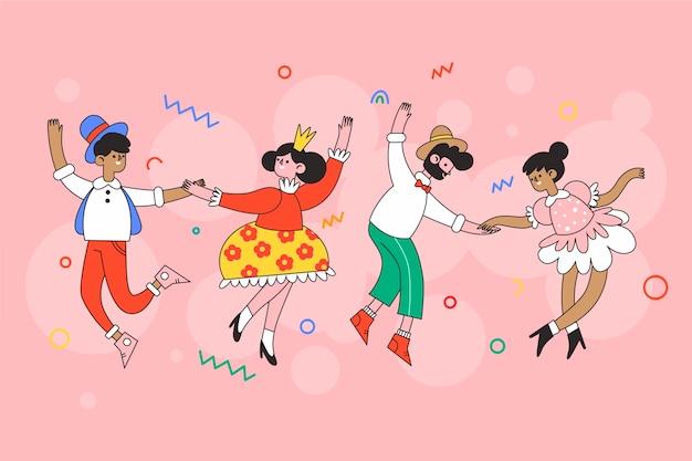 Tema ilustrado de la colección de bailarines de carnaval