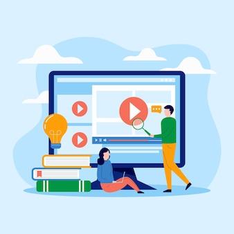 Tema ilustrado de cursos en línea