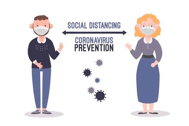 Tema ilustrado de distanciamiento social