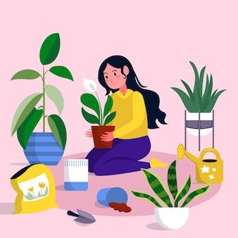 Tema ilustrado de jardinería en casa