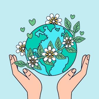 Tema ilustrado de salvar el planeta