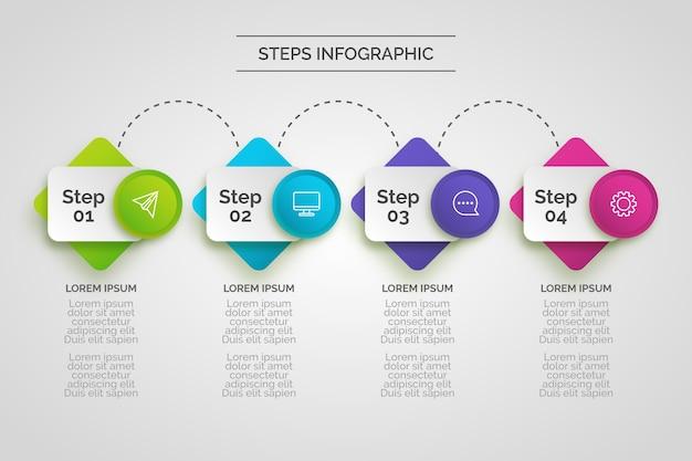 Tema de infografía de pasos