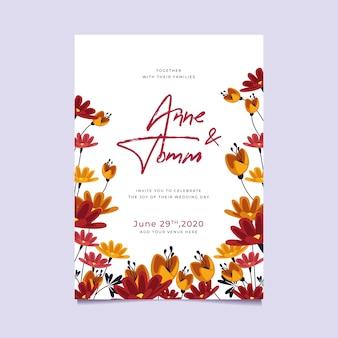 Tema de invitación de boda floral