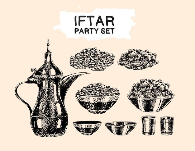 Tema islámico de iftar party establece elemento de estilo de dibujo a mano