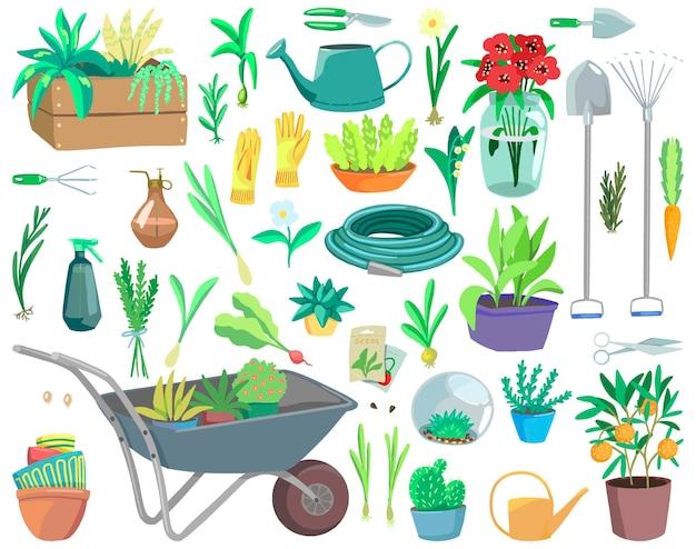 Tema de jardinería, herramientas, plantas en macetas, accesorios. colección de ilustraciones vectoriales dibujadas a mano. cliparts de dibujos animados coloridos aislados en blanco. elementos de diseño, impresión, decoración, tarjeta, pegatina, banner