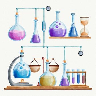 Tema de laboratorio de ciencias de la acuarela