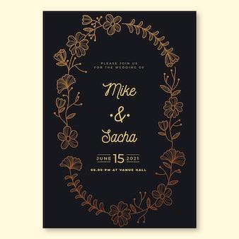 Tema de lujo para plantilla de invitación de boda