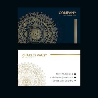 Tema de mandala de plantilla de tarjeta de visita